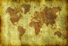 Mapa velho de Grunge do fundo do mundo Fotografia de Stock Royalty Free