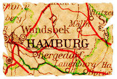 Mapa velho de Hamburgo Fotos de Stock Royalty Free