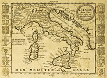 Mapa velho de Italy Fotos de Stock Royalty Free
