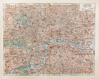Mapa velho de Londres Fotografia de Stock