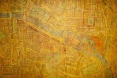 Mapa velho de Paris Fotos de Stock Royalty Free