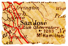 Mapa velho de San Jose fotografia de stock royalty free