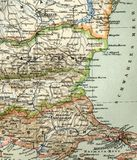 Mapa velho do atlas geográfico, 1890 O império otomano turco Turquia Fotografia de Stock Royalty Free