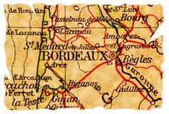 Mapa velho do Bordéus Fotografia de Stock Royalty Free