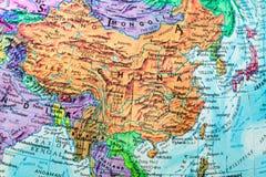 Mapa velho do globo do close-up de China Foto de Stock