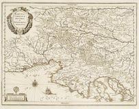 Mapa velho do mar de adriático Fotografia de Stock Royalty Free