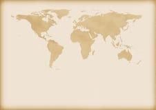 Mapa velho do mundo Fotos de Stock