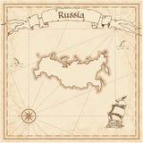 Mapa velho do tesouro da Federação Russa Fotografia de Stock