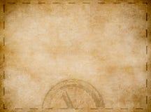 Mapa velho do tesouro dos piratas com compasso ilustração do vetor