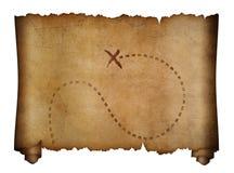 Mapa velho dos piratas com lugar marcado do tesouro fotos de stock