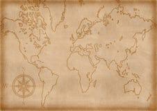 Mapa velho gerado por computador Fotos de Stock Royalty Free