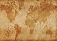 Mapa velho gerado por computador do grunge do mundo Foto de Stock Royalty Free