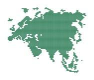 Mapa verde de Eurasia. Foto de archivo