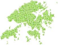 Mapa verde de Hong Kong Fotos de Stock Royalty Free