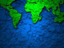 Mapa verde de la tierra del grunge en 2 azules Imagenes de archivo