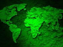 Mapa verde de la tierra del grunge en un 1 verde Foto de archivo