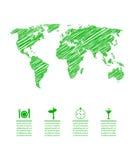 Mapa verde del eco Imagenes de archivo