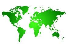 Mapa verde do mundo Imagens de Stock Royalty Free