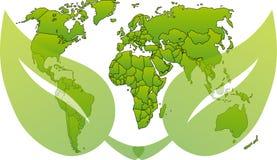 Mapa verde do wolrd Imagens de Stock Royalty Free