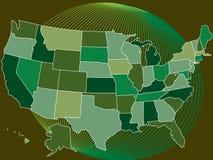 Mapa verde dos EUA com globo ilustração do vetor