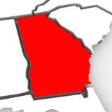 Mapa vermelho Estados Unidos América do estado do sumário 3D de Geórgia Foto de Stock Royalty Free