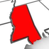 Mapa vermelho Estados Unidos América do estado do sumário 3D de Mississippi Imagens de Stock