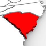 Mapa vermelho Estados Unidos América do estado do sumário 3D de South Carolina Fotos de Stock Royalty Free