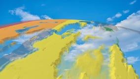 Mapa video del planeta del mapa del mundo 3D ilustración del vector