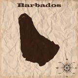 Mapa viejo de Barbados con grunge y papel arrugado Ilustración del vector stock de ilustración