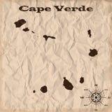 Mapa viejo de Cabo Verde con grunge y papel arrugado Ilustración del vector Imagenes de archivo