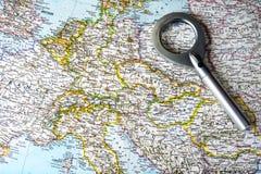 Mapa viejo de Europa Central con East and West-germany foto de archivo