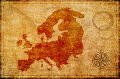 Mapa viejo de Europa en el parchmment Foto de archivo libre de regalías