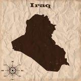Mapa viejo de Iraq con grunge y papel arrugado Ilustración del vector Fotos de archivo