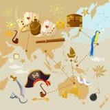 Mapa viejo de la isla del tesoro del pirata ilustración del vector