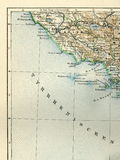 Mapa viejo del atlas geográfico 1890 con un fragmento del Apennines, península italiana Italia central el mar tirreno Fotos de archivo
