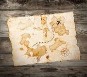 Mapa viejo del tesoro Fotos de archivo libres de regalías