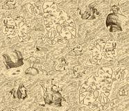 Mapa viejo del vintage con las islas ilustración del vector