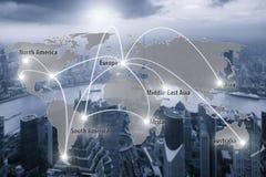 Mapa virtual da conexão de relação da conexão global do sócio Imagens de Stock