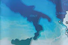 Mapa Włochy w błękicie tonuje z merem obraz royalty free