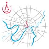 Mapa w centrum Moskwa z Kremlowski ono uśmiecha się Zdjęcia Stock