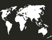 Mapa świat na ciemnym tle w perspektywie Zdjęcia Royalty Free