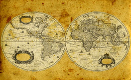 mapa świat stary papierowy Obrazy Royalty Free