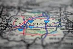 Mapa widok Dla podróży lokacje Ohio i miejsca przeznaczenia obrazy royalty free