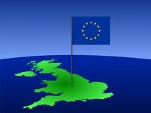 mapa wielkiej brytanii eu flagę Fotografia Royalty Free