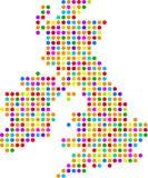 mapa wielkiej brytanii kropki Zdjęcie Stock
