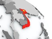 Mapa Wietnam z flaga na kuli ziemskiej ilustracji