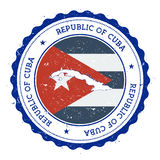 Mapa y bandera de Cuba en sello de goma del vintage de Fotos de archivo