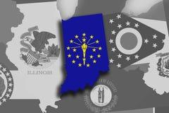 Mapa y bandera de Indiana stock de ilustración