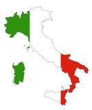 Mapa y bandera de Italia Foto de archivo