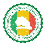 Mapa y bandera de Senegal en sello de goma del vintage de Fotografía de archivo libre de regalías